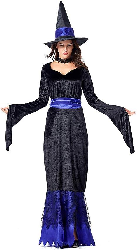 Jeff-chy Disfraz De Bruja Negra Azul De Halloween Festival De ...
