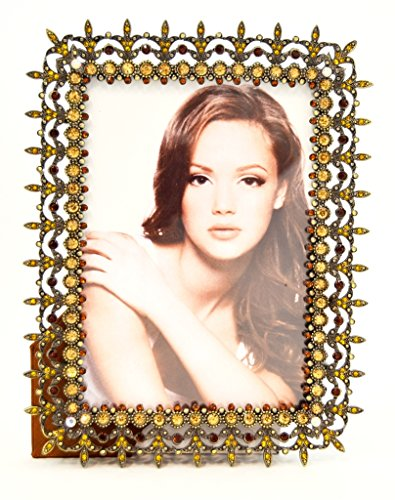 Ciel Collectables Karina Picture Frame, Light & Dark Topaz Swarovski Crystal, Antique Brass Plating Over Pewter, Brown Color Stylish Silk Back Have Two Way Easel, Holds 5 x 5, 5 x 7 Pictures ()