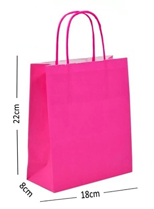 12 ~ Rosa Intenso Fiesta Bolsas de papel de Regalo ~ Cumpleaños Bolsa Sorpresa ~ 22x18x8cm
