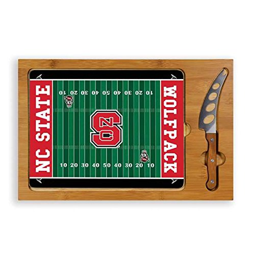PICNIC TIME 910-00-505-424-0 North Carolina State Wolfpack Digital Print Icon-Football Cutting Board Tray with 3 Piece Knife Set44; - Wolfpack Board State Cutting Nc