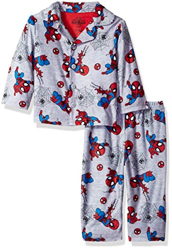 Marvel Baby Boys Spiderman 2-Piece Pajama Coat Set, Webtastic Gray, 24M