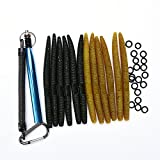 ALUNAR Fishing Lures Kit Mixed Magnum Finesse Wacky Worm Kits with Rig Tool, Wacky Rig O-Rings Wacky Hooks and Senko Soft Baits Fishing Accessories Set with Tackle Box
