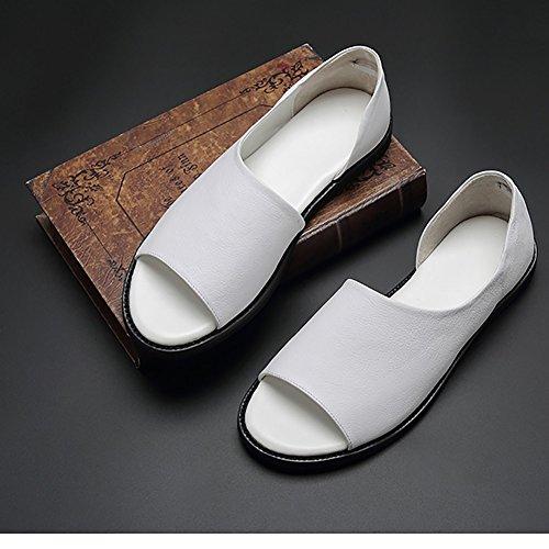 Scarpe con in 43 disegno stile Nero basse dimensioni cuoio Sandalo punta Colore Morbido romano aperto antiscivolo in Bianca in pelle uomo pelle Sandalo 0avf0