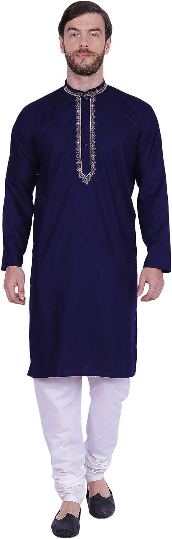 Maple Clothing Men's Kurta Pajama Embroidered Dress Cotton Indian Clothes