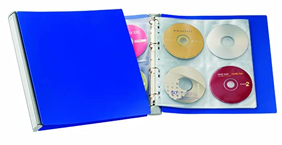Durable 527723 - Archivador de anillas con fundas para CD/DVD 322 x 322 x 40 mm 630 g, color azul: Amazon.es: Oficina y papelería