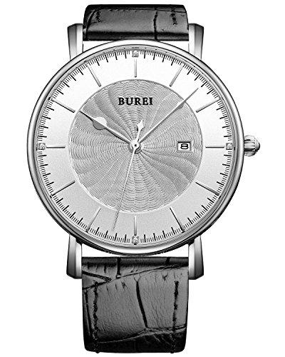 (BUREI Unisex Ultra-Thin Big Face Quartz Watch with Black Calfskin Band, White Spiral Grain Dial)