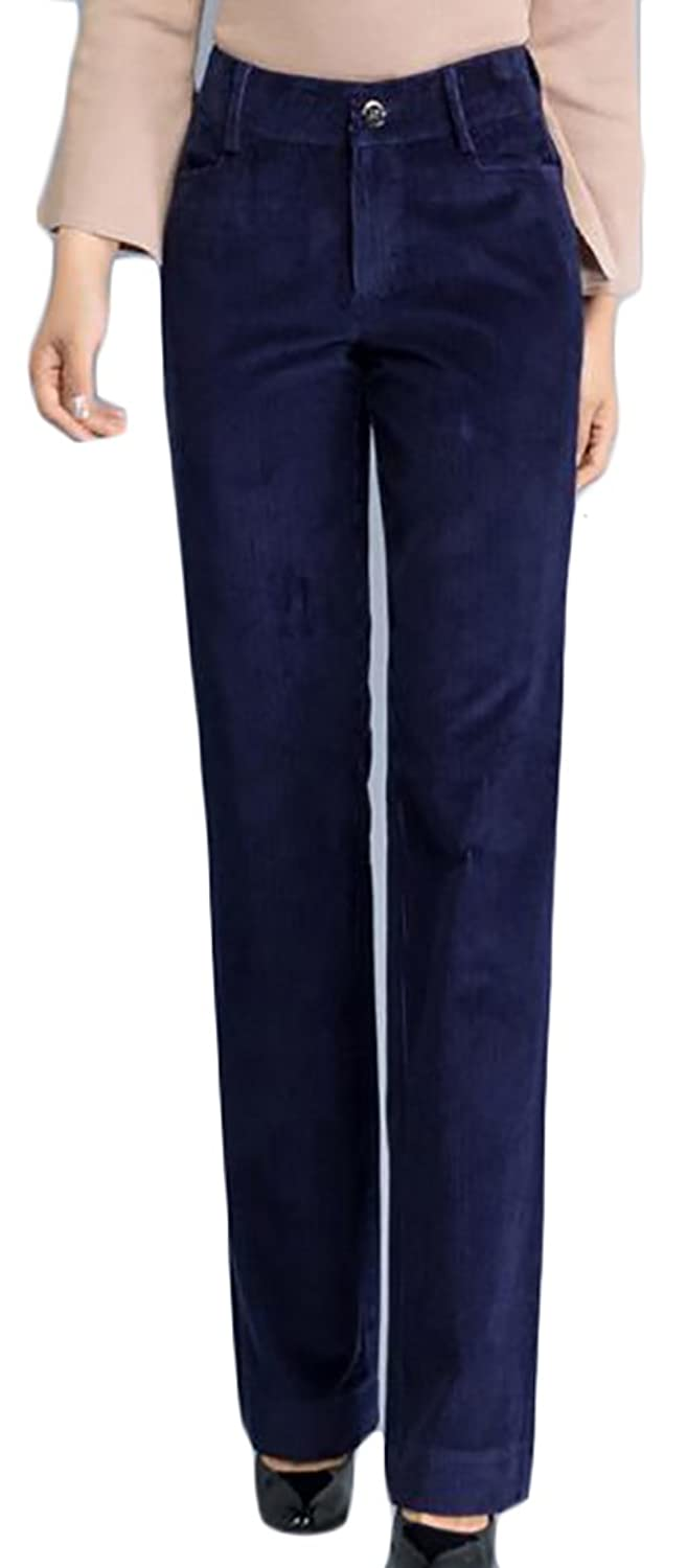 XTX Womens Corduroy High Waist Slim Fit Solid Winter Fall Pant Trouser