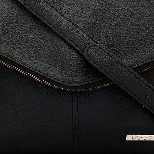Lapis O Lupo Ebony Damen Schultertasche Schwarz Multi Pocket Designer Satchel
