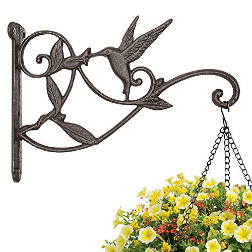 (Mkono Hanging Plant Bracket Hook Iron Decorative Plant Hanger for Flower Basket Bird Feeder Wind Chime Lanterns )