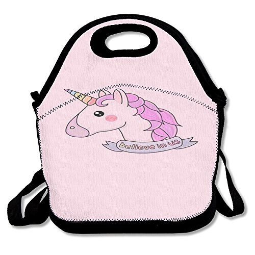 Unicorn Horse Retro Insulated Heating Polyester Shoulder Strap Women Men Kids Toddler Black Lunch Bag Tote Food Storage Carrying Case For Outdoor Office