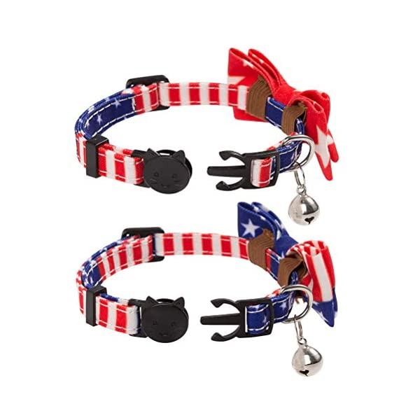 PAWCHIE American Flag Cat Collars Breakaway, 2 Pack Bow Tie Collar for Cats with Bell, Adjustable 2