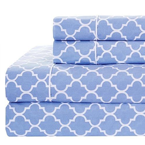 Set of Periwinkle Meridian Standard/Queen Pillowcases- Pair- Percale 100% Cotton (Pattern Standard Pillowcase)