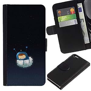 Planetar® Modelo colorido cuero carpeta tirón caso cubierta piel Holster Funda protección Para Apple (4.7 inches!!!) iPhone 6 ( Kid Baby Mom Mother Sweet Night )