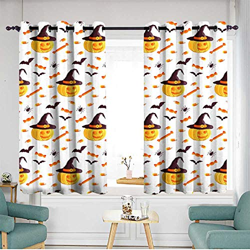 Simple Curtains Festive Seamless Pattern Halloween Characters Jack o Lantern Witch hat bat Spider Corn Candy Vector Illustration on a White Background Usable for Design Packaging Wallpaper Textile in]()