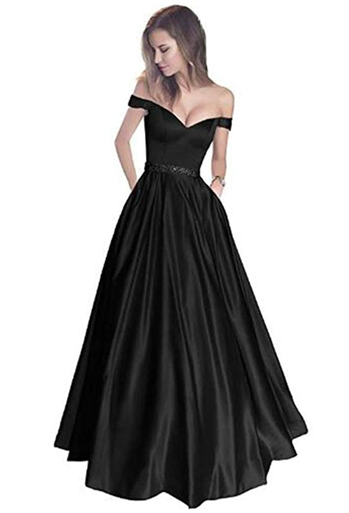 Black Yuki Isabelle Women's VNeck Off Shoulder Beaded Long Evening Wedding Dresses Satin Prom Gowns with Pockets