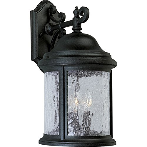 31 Three Light (Progress Lighting P5650-31 3-Light Cast Aluminum Wall Lantern with Water-Seeded Glass, Textured Black)