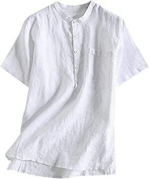 Sunnyuk Camisas Lino para Hombres Manga Corta con Cuello Casual Suelta Camisetas Sueltas Cool Top Blusas: Amazon.es: Deportes y aire libre