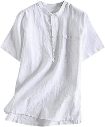 Overdose Camisas Hombre Informal Manga Corta Vintage Shirt Hombre Lino Cuello Redondo Ibicenca Popular Tops
