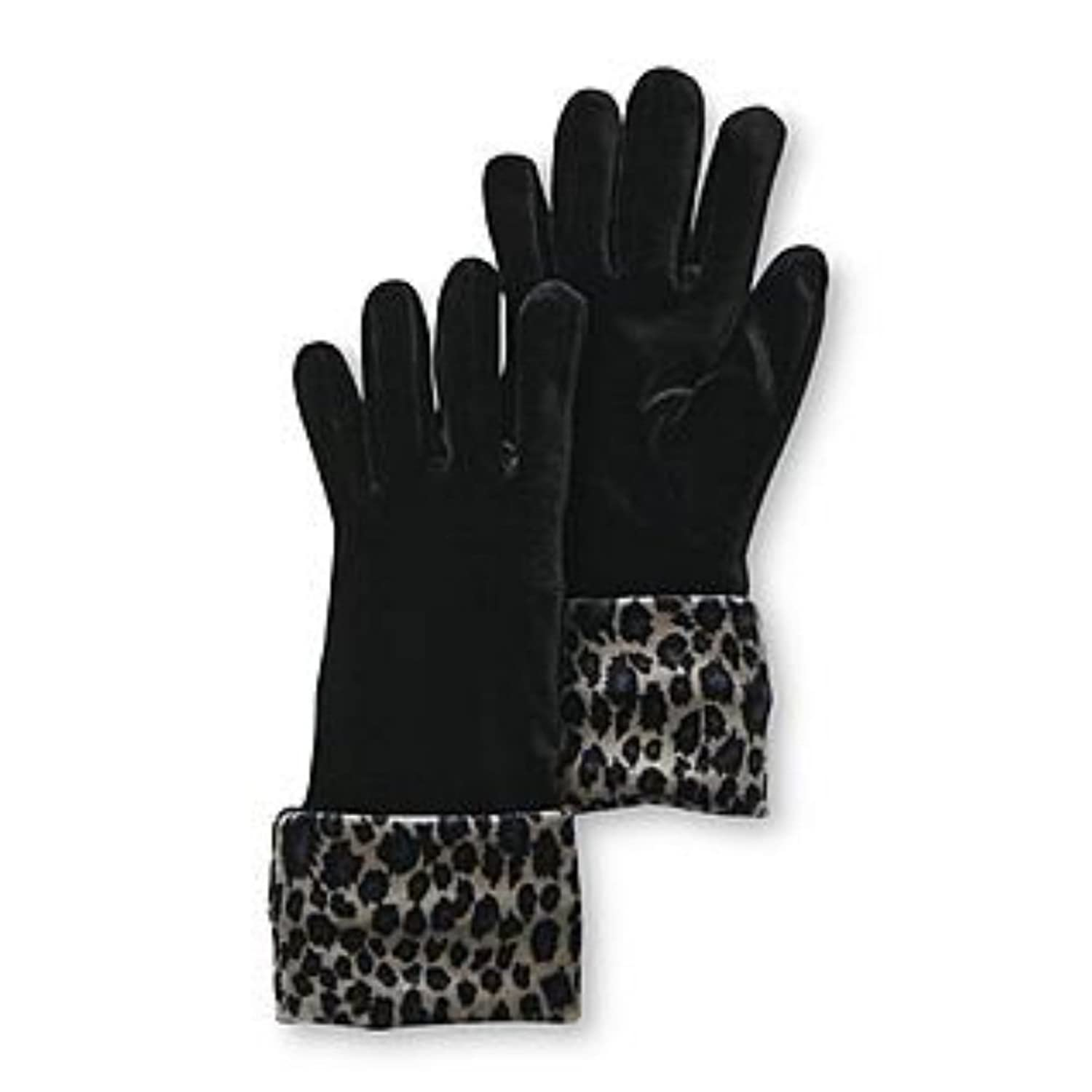 Black gloves with leopard trim - Fownes Womens Black Velvet Gloves With Silver Leopard Print Cuffs At Amazon Women S Clothing Store