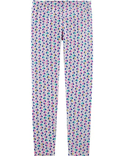 Osh Kosh Girls' Little Full Length Legging, Grey Mini/Heart, 10-12