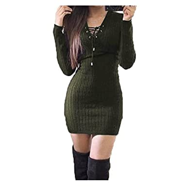 d02edc3f8ab2 Anxinke Women Solid Long Sleeve Lace up V Neck Casual Bodycon Sweaters Mini  Dress (Army