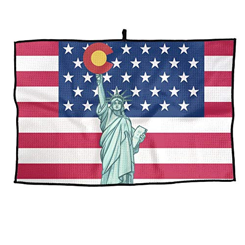 - ElephantAN Statue Of Liberty Colorado Flag Grid Microfiber Cooling Golf Towel Ice Sports Travel Towel Chilly Towel, Yoga, Fitness, Gym