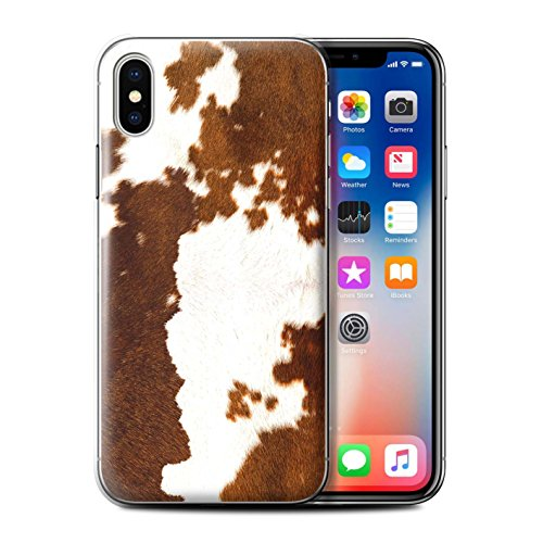 Stuff4® Phone Case/Cover for Apple iPhone X/10 / Cow/Brown Design/Animal Fur Effect/Pattern Collection