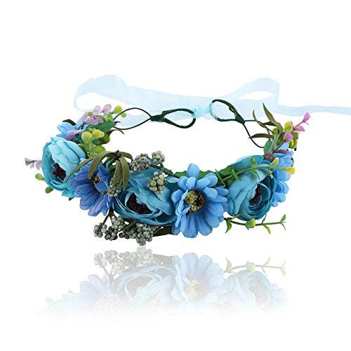 (Flower Halo Crown Floral Headpiece - AWAYTR Bohemia Seashell Turritella Flower Headband Hair Wreath Garland for Women Girls (Blue))
