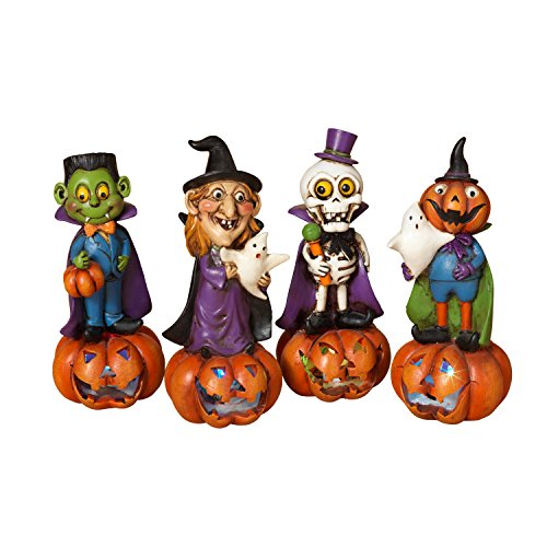 Gerson International Halloween Ghouls LED Light Up Figurines 4 Piece Set Dracula Witch -