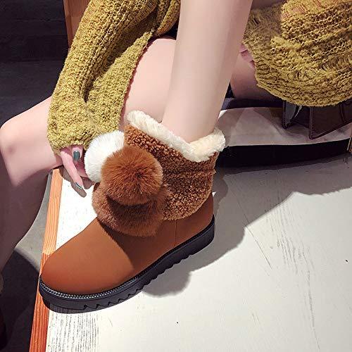 Mujer Cálido Manga 棕色 Terciopelo De Cálida Más Algodón Shoe Botas Tubo La Phy Invierno qCYTTw