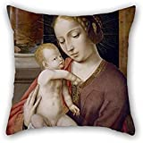 20 X 20 Inches / 50 By 50 Cm Oil Painting Master Of The Holy Blood - Virgin And Child Pillow Shams ,twin Sides Ornament And Gift To Gf,bedroom,valentine,husband,adults,play Room