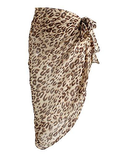 CHIC DIARY Women Swimwear Chiffon Pareo Beach Cover Up Bikini Sarong Swimsuit Wrap Skirts (Leopard-Khaki)