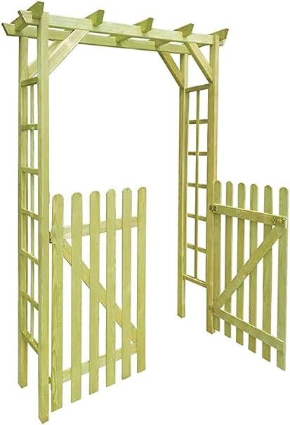 Rose Garden pérgola puerta del cobertizo con 2 puertas de madera,A