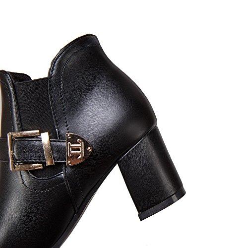 pure talon orteil Voguezone009 Femme pointu bottes traction chatoyante noires moyen bout 5xS0fa