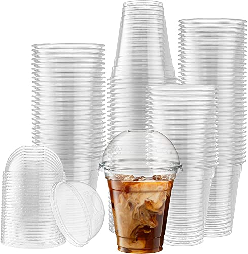 12 oz. Plastic Cups With Dome Lids [50 Sets] Disposable Clear Cups for Cold Drinks, Dessert, Milkshake, Iced Coffee…