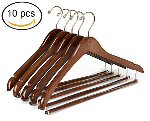 Quality Hangers Curved Wooden Hangers Beautiful Sturdy Suit Coat Hangers with Locking Bar Gold Hooks (10)