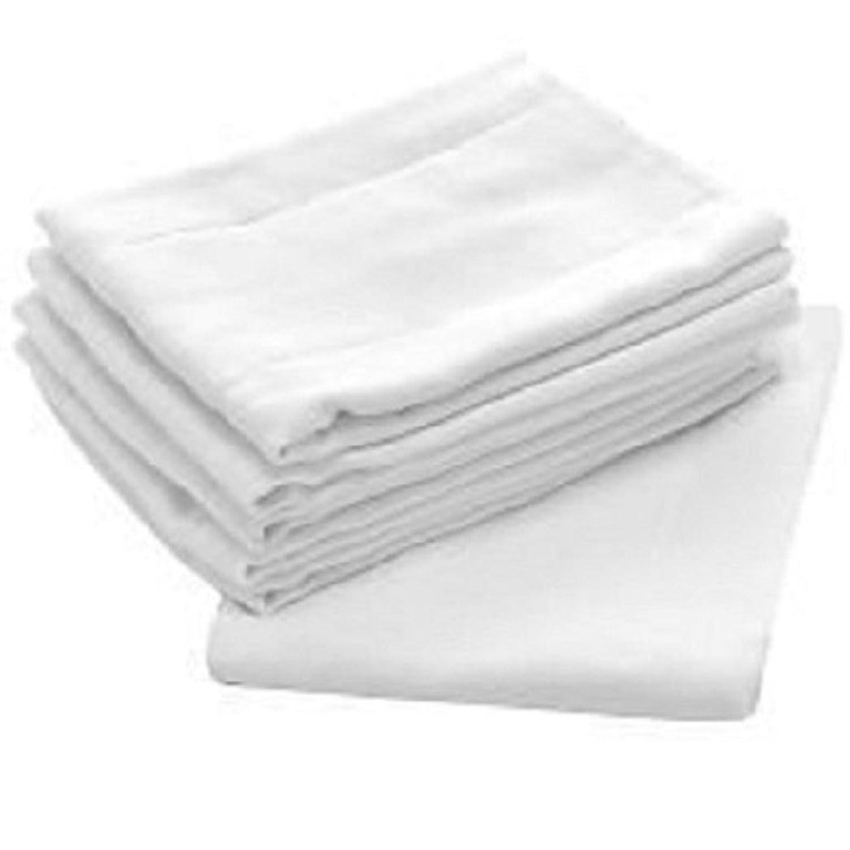 Birdseye Burp Cloth, White Flat Cloth Diapers 27x27 100% Cotton For Longer Lasting