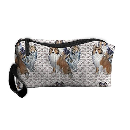 Portable Shelties And Bones Receiving Package Makeup Bag Pencil Pen Case Makeup Bag Set For (Sporty Bone)
