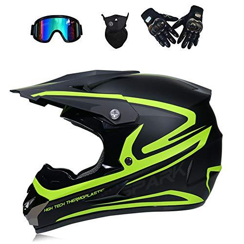 HWJF Adult Motocross Helmet MX Motorcycle Helmet ATV Scooter ATV Helmet D.O.T Certification (Glove Goggles mask 4 Sets) S, M, L, XL,2,S