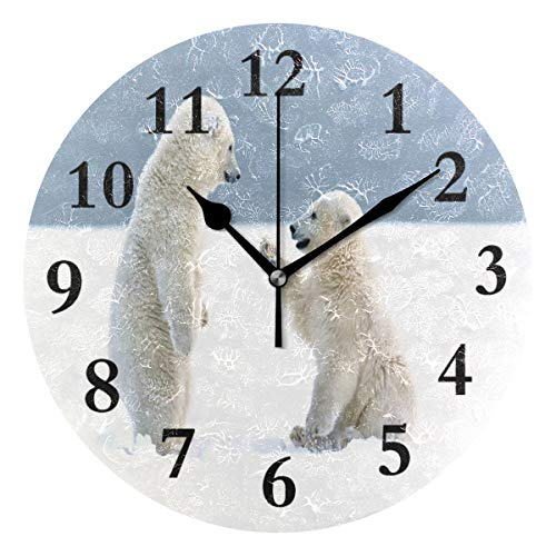 (FunnyCustom Round Wall Clock Cute Bear Acrylic Creative Decorative for Living Room/Kitchen/Bedroom/Family)