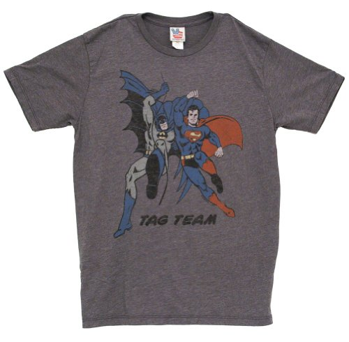 (Batman and Superman Tag Team Vintage Inspired Adult Heather Gray T-Shirt (Adult)