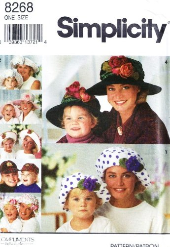 SIMPLICITY 8268 WOMAN / LADIES ~ GIRL HAT PATTERN ~ BERET, SUN HAT, BASEBALL HAT, CRUSHER HAT (MOTHER / DAUGHTER)