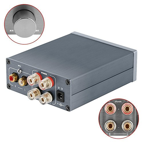 2 Channel Stereo Audio Amplifier Mini Hi-Fi Professional Amp for Home Speakers 50W x 2 (Version1.0 Grey) ()