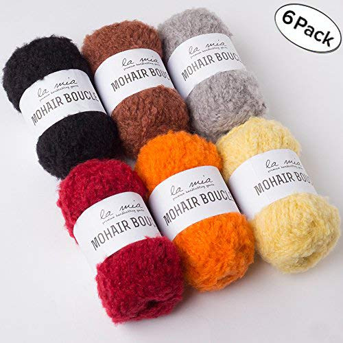 Lamia 6 Skein Mohair Boucle 76% Wool, Total 10.5oz (300gr), Each 1.76Oz, 54 Yrds, Super Bulky Mixed Color Yarns, Perfect for Amigurumi Doll Hair