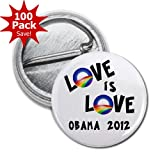 OBAMA Supports Same-Sex Marriage Love is Love LGBT Rainbow 100-Pack of 1 inch Mini Buttons