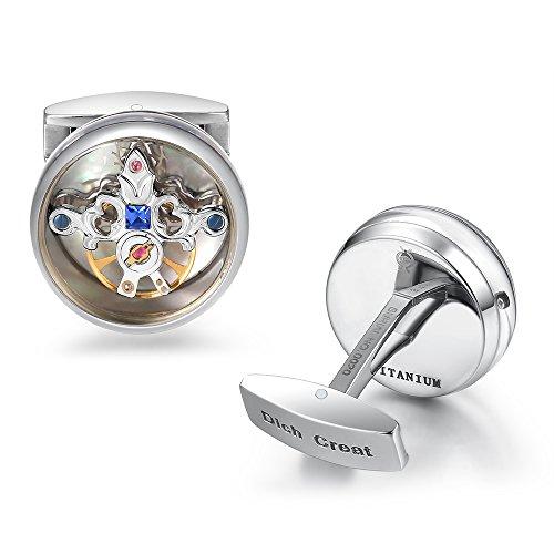 Sport Titanium Cufflinks (Dich Creat Unisex Titanium rhodium Emboss Tourbillon Cufflinks With Blue Swarovski Crystal Inlay)