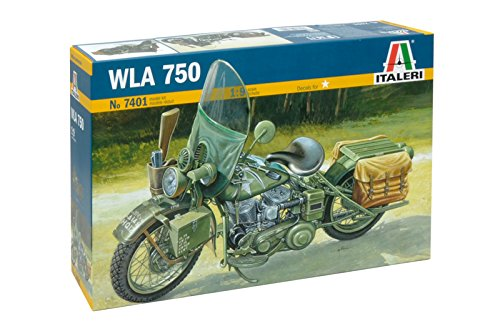 Italeri Harley Davidson WLA 750 WWII Military Motorcycle 1:9 Scale - Plastic Model Kit 7401