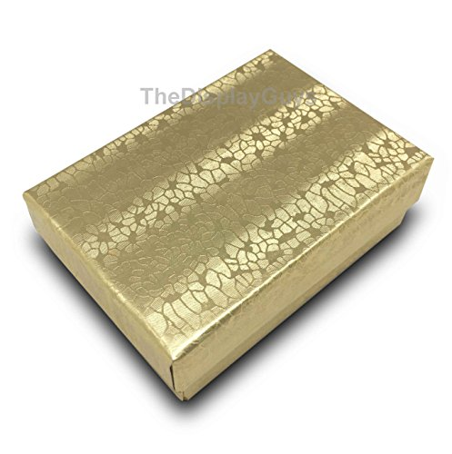100 Gold Cotton Filled Jewelry Display Gift Boxes -