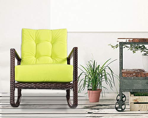 Garden Backyard or Pool Porch Outroad Rocking Wicker Chair Green Lounge Chair with Thick Cushion for Outdoor