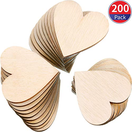 Tatuo 200 Pieces 1 Inch Wood Heart Cutouts Wood Heart Slices Embellishments Ornaments for Wedding, Valentine, DIY Supplies (1 Inch, 200 Pieces)